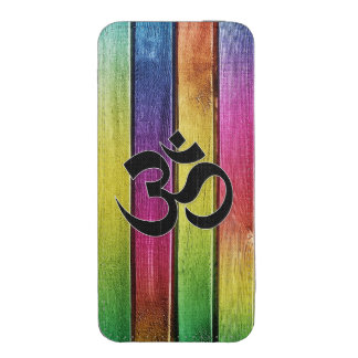 Om sign on multicolor wood iPhone 5 pouch