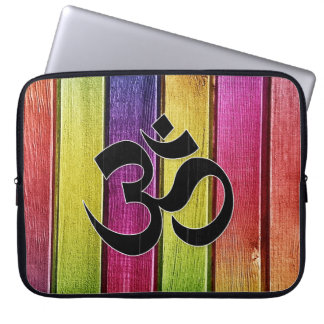 Om sign on multicolor wood computer sleeve