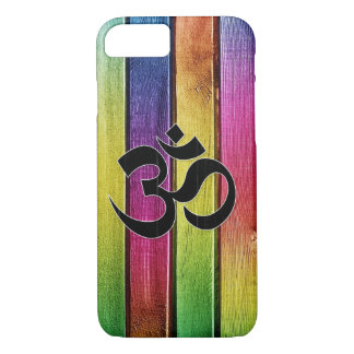 Om sign on multicolor wood iPhone 7 case