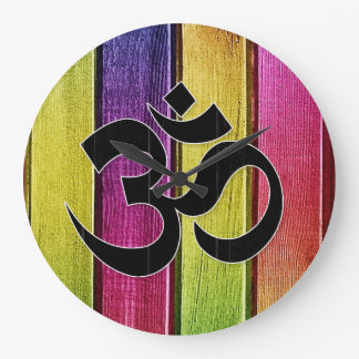 Om sign on multicolor wood large clock