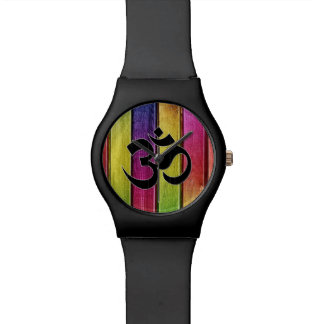 Om sign on multicolor wood wrist watch