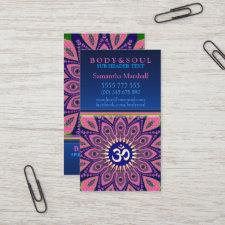 Om Sign Pink Mandala Yoga NewAge Business Cards