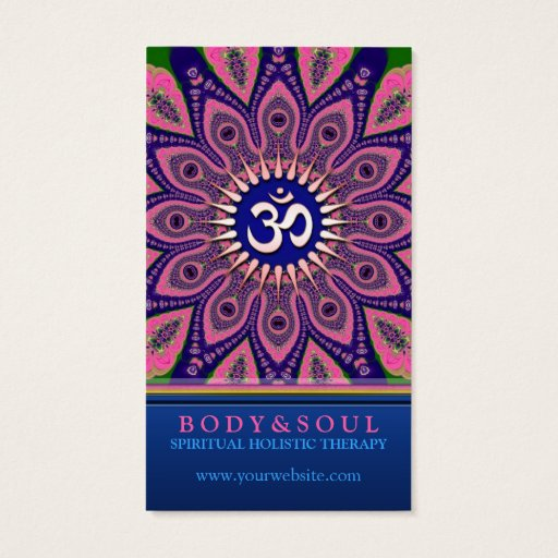 Om Sign Pink Mandala Yoga NewAge Business Cards