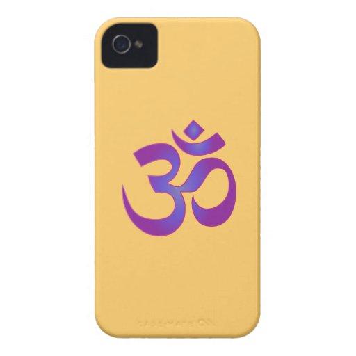 OM símbolo rosado y púrpura de Aum del zen de la Case-Mate iPhone 4 Funda