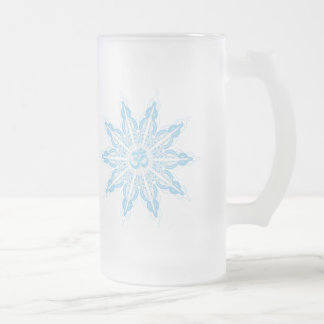 Om Snowflake on Frosted Glass Mug