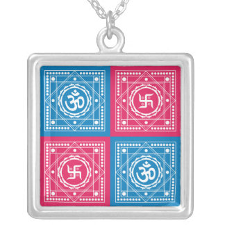 Om & Swastika Signs Silver Plated Necklace