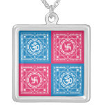 Om & Swastika Signs Square Pendant Necklace