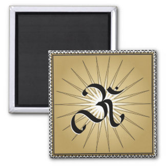 OM symbol 2 Inch Square Magnet