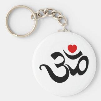 Om Symbol Basic Round Button Keychain