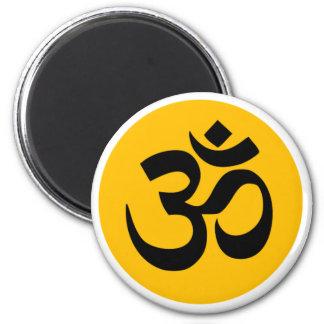 Om Symbol, black circle with gold Magnet
