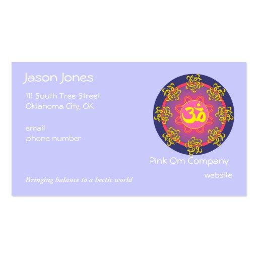 OM symbol (blue border) business card