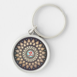 OM Symbol Gold Lotus Mandala Wood Look Turquoise Silver-Colored Round Keychain