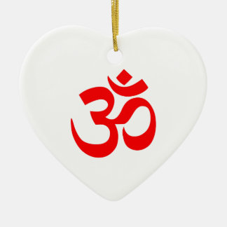 OM SYMBOL HINDUISM Double-Sided HEART CERAMIC CHRISTMAS ORNAMENT
