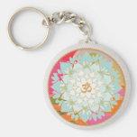 OM Symbol Lotus Mandala Basic Round Button Keychain