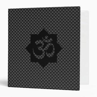 OM Symbol Lotus Spirituality Carbon Fiber Decor 3 Ring Binder