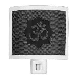 OM Symbol Lotus Spirituality Carbon Fiber Decor Night Light