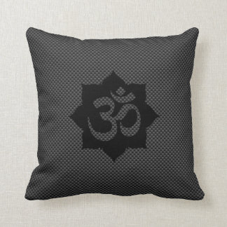 OM Symbol Lotus Spirituality in Carbon Fiber Style Throw Pillow