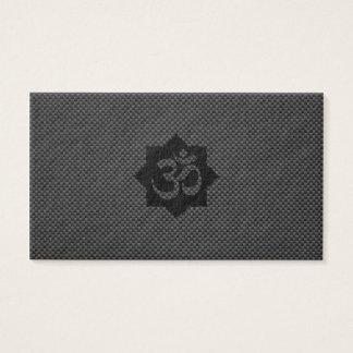 OM Symbol Lotus Spirituality Yoga in Carbon Fiber Business Card