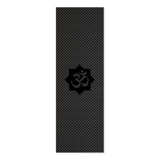 OM Symbol Lotus Spirituality Yoga in Carbon Fiber Double-Sided Mini Business Cards (Pack Of 20)