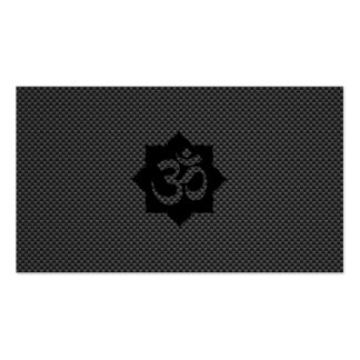 OM Symbol Lotus Spirituality Yoga in Carbon Fiber Double-Sided Standard Business Cards (Pack Of 100)