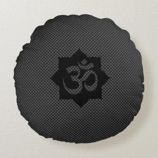 OM Symbol Lotus Spirituality Yoga in Carbon Fiber Round Pillow