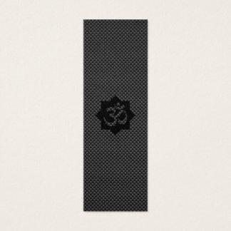 OM Symbol Lotus Spirituality Yoga in Carbon Fiber Mini Business Card