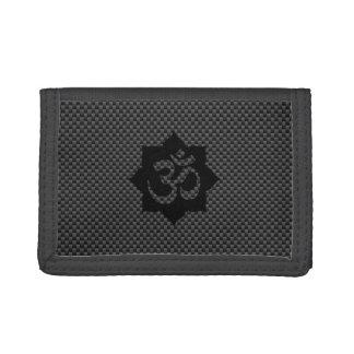 OM Symbol Lotus Spirituality Yoga in Carbon Fiber Tri-fold Wallets
