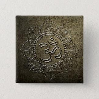 OM Symbol Mandala Bronze Metal Button