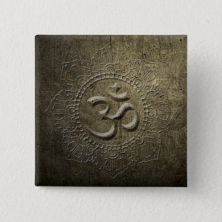 OM Symbol Mandala Bronze Metal Button