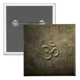 OM - Symbol Mandala - Bronze Metal - Button