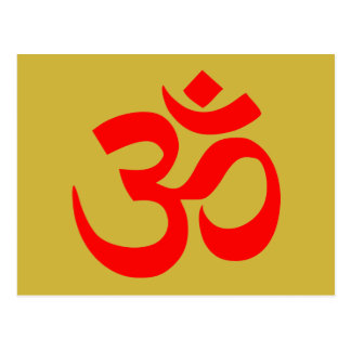 Om Symbol Mystical Sound in Hindu Buddhism Pink Postcard