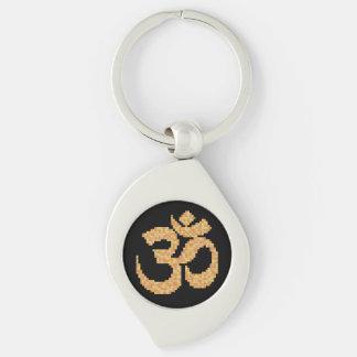 Om Symbol Silver-Colored Swirl Metal Keychain