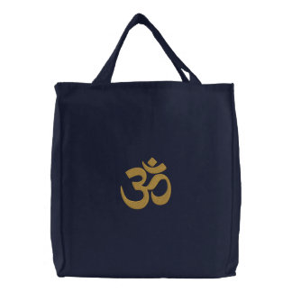 OM Symbol Spirituality Yoga Embroidery Embroidered Tote Bag
