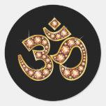 "Om Symbol with ""Amber"" or ""Topaz"" Stones Classic Round Sticker"