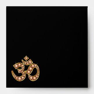 "Om Symbol with ""Amber"" or ""Topaz"" Stones Envelope"