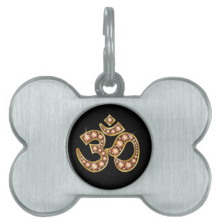 """Om Symbol with """"Amber"""" or """"Topaz"""" Stones Pet ID Tag"""