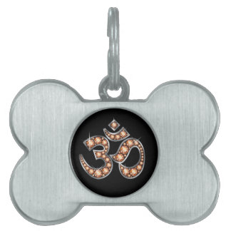 """Om Symbol with """"Amber"""" or """"Topaz"""" Stones Pet Name Tag"""