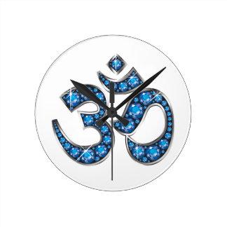 """Om Symbol with """"Aquamarine"""" Stones Clocks"""