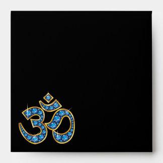 Om Symbol with Aquamarine Stones Envelope
