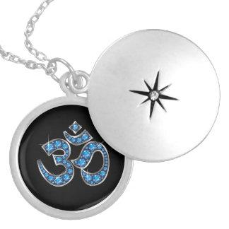 """Om Symbol with """"Aquamarine"""" Stones Round Locket Necklace"""