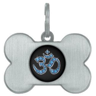 """Om Symbol with """"Aquamarine"""" Stones Pet ID Tag"""
