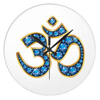 Om Symbol with Aquamarine Stones Wall Clock