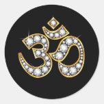 "Om Symbol with ""Diamond"" Stones Classic Round Sticker"