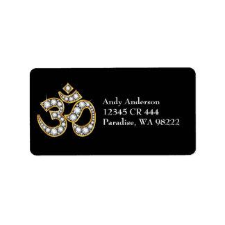 "Om Symbol with ""Diamond"" Stones Address Label"