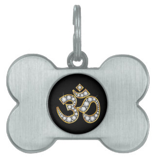 "Om Symbol with ""Diamond"" Stones Pet ID Tag"