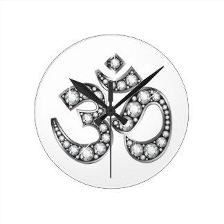 "Om Symbol with ""Diamond"" Stones Round Wall Clocks"