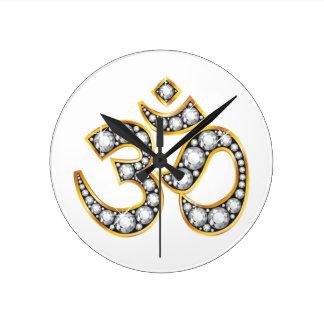 "Om Symbol with ""Diamond"" Stones Wall Clocks"