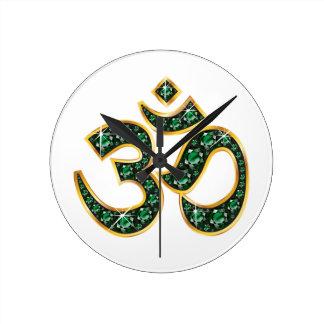 "Om Symbol with ""Emerald"" Stones Clock"