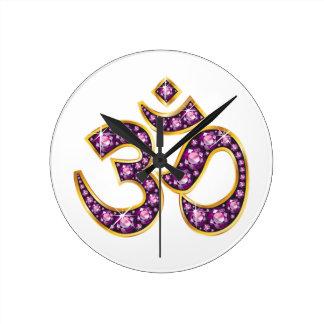 "Om Symbol with ""Garnet"" Stones Clock"