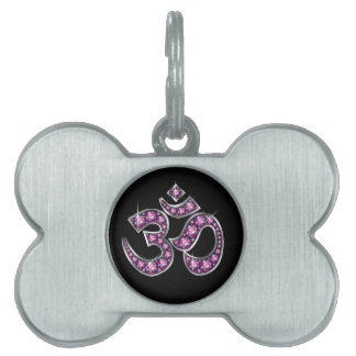 "Om Symbol with ""Garnet"" Stones Pet Name Tag"